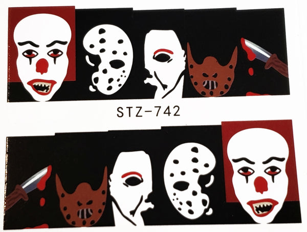 IT , Jason , Michael Myers Nail Decal Punk Gothic Rockabilly Nail Wrap Decals Sticker Nail Art - Great for Halloween!
