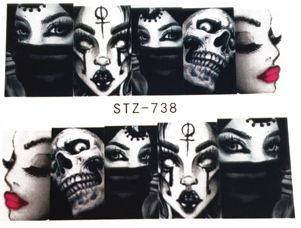 Gangsta Gangster Chick Gang Girl - Skull Nail Decal Punk Gothic Rockabilly Nail Wrap Decals Sticker Nail Art - Great for Halloween!
