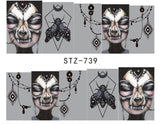 10 Full Sheet of Assorted Water Nail Decal Punk Gothic Rockabilly SKULL Nail Wrap Decals Sticker Salon Quality Nail Art - Great for Halloween!