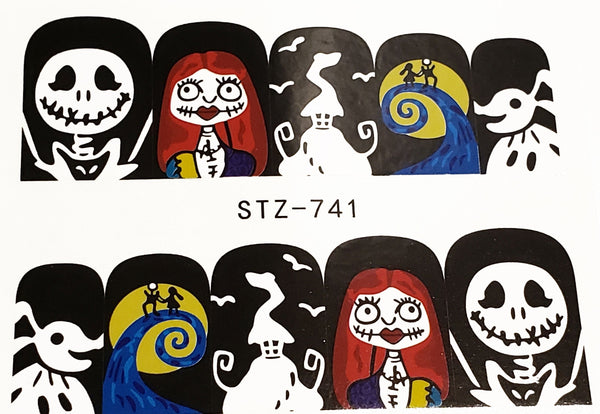 Halloween Haunting Nightmare Before Christmas inspired Scream Nail Decal Punk Gothic Rockabilly Nail Wrap Decals Sticker Nail Art - Great for Halloween!