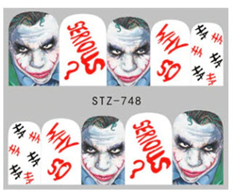 10 Joker Why So Serious HA HA Nail Stickers Punk Gothic Rockabilly Nail Wrap Decals Sticker