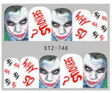 5 Full Sheet of Assorted Water Nail Decal IT, Jason, Punk Gothic Rockabilly Nail Wrap Decals Sticker
