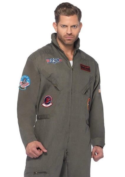 Top Gun Inspired Me;s Flight Suit Halloween Costume 1X 2X 3X TG83702X