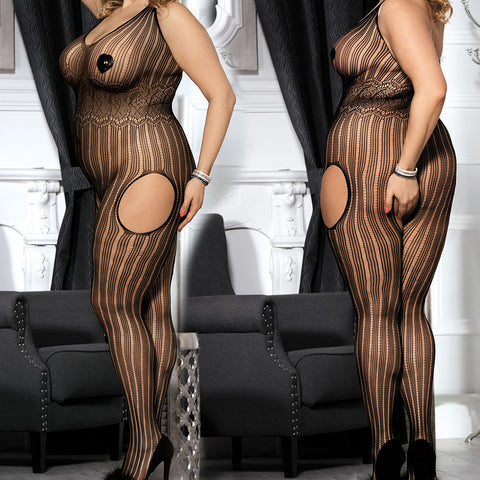 Sexy Plus Size Lace Halter Fishnet - Bodystocking - Crotchless -  Body Stocking Black DM_H3014