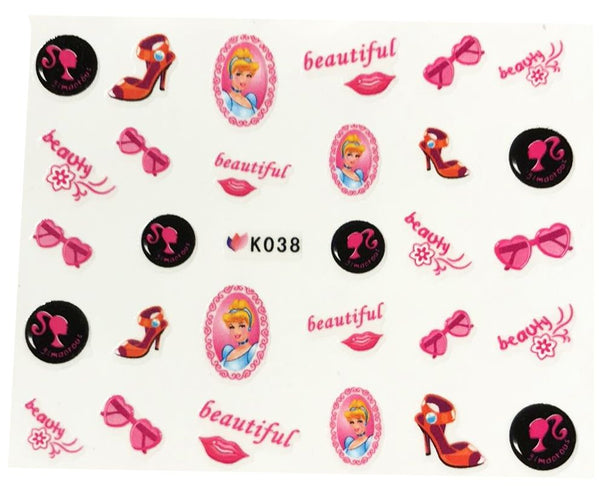 Cute Cinderella Nail Stickers - Pink Glasses, Shoe Beautiful Beauty Word also included - Salon Quality Nail Art - 1 Sheet Fingernails Disney Princess