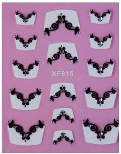 Full Sheet White French Tip with Black Flowers and Rhinestones - Salon Quality Nail Art Nail Wrap Nail Decals  - 1 Sheet