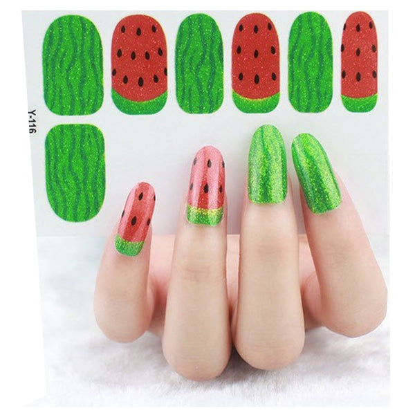 12 Sweet and Juicy Green Red Watermelon Summer Nail Wrap Decals Sticker Salon Quality Nail Art - 1 Sheet