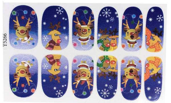 12 Blue Christmas Rudolph Reindeer and Snowflakes Nail Wraps - Nail Art Nail Wrap Nail Decals - Raindeer