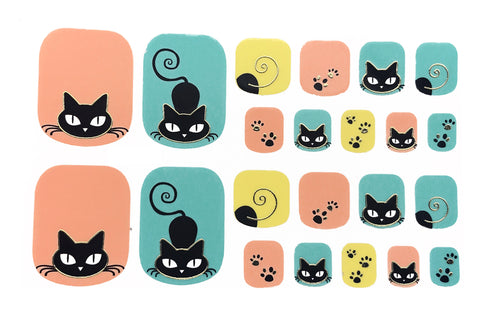22 Peach Mint Yellow Black Cat Toe Nail Wrap Decals Sticker Kawaii - 1 Sheet