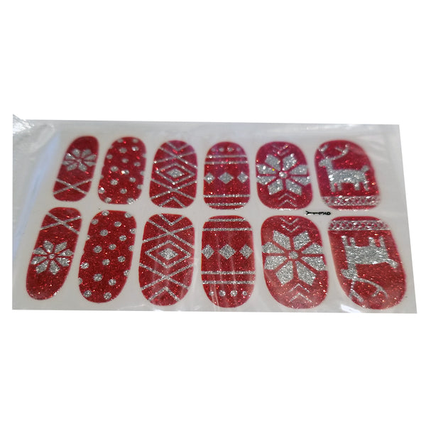 Silver Red Glitter Christmas Deer Nail Stickers Snow Flakes Salon Quality Nail Art Nail Wrap Decals