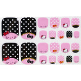 22 Hello Kitty Pink Polka Dot Bow Toe Nail Wrap Decals Sticker Kawaii - 1 Sheet