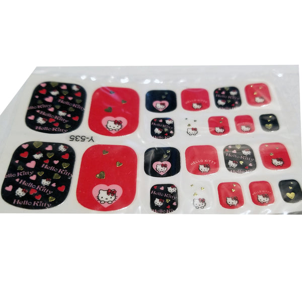 22 Hello Kitty Pink Black Red Gold Heart Love Bow Toe Nail Wrap Decals Sticker Kawaii - 1 Sheet