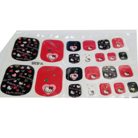 22 Hello Kitty Pink Black Red Gold Heart Love Bow Toe Nail Wrap Decals Sticker Salon Quality Nail Art - 1 Sheet