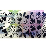 12 Transparent black heart outline Nail Wrap Decals Sticker Salon Quality Nail Art - 1 Sheet