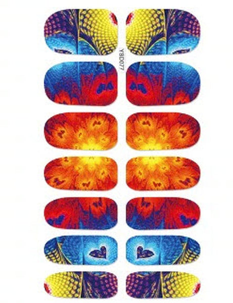 BURST OF COLOR Colorful Abstract Patterns hearts Nail Decals Sticker Salon Quality Nail Art - 1 Sheet