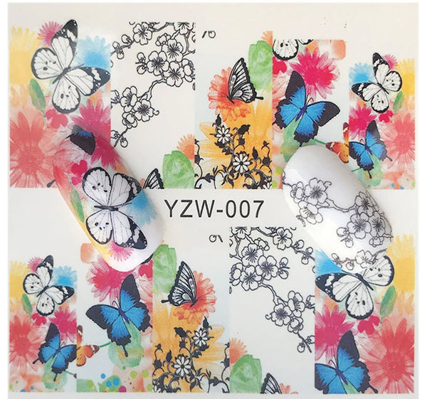 Watercolor Butterfly and Flower Butterflies Nail Decals Sticker Salon Quality Nail Art - 1 Sheet