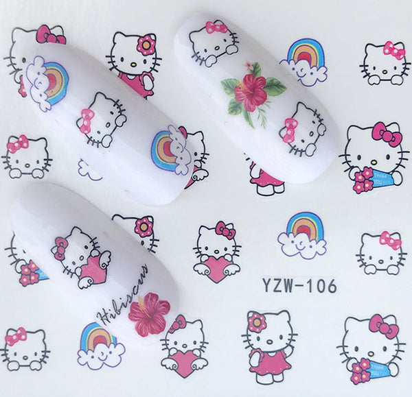 Hello Kitty is Everyone Favorite Cat Nail Decals Sticker with Rainbows Kawaii - 1 Sheet