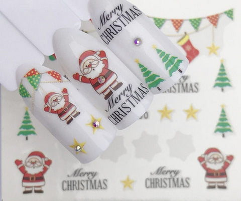 Full Sheet White Red Green Christmas Santa Tree Nail Stickers - Salon Quality Nail Art Nail Wrap Nail Decals  - 1 Sheet