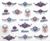 GOTHIC SKULL Victorian Inspired Nail Decals Sticker Salon Quality Nail Art - 1 Sheet