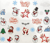 Full Sheet White Snowman Green Christmas Tree Red Santa Clause Nail Stickers - Nail Art Nail Wrap Nail Decals