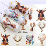 Sheet of Deers and Antlers with flowers and dream catchers Nail Art - Nail Decals