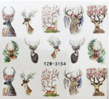 Sheet of Nature Deer and Antlers with flowers Nail Art - Nail Decals