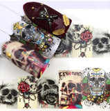 Skull with Roses Stickers Death Sugar Skull Nail Decal Punk Gothic Rockabilly Nail Wrap Decals Sticker Nail Art - Great for Halloween!