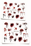 2 Full Sheet of Halloween Horror Inspirde Water Nail Decals / Stickers - Lips Vampire blood Handprint