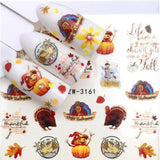 Thanksgiving Turkey Thankful FingernailWater Decals Nail Art - 1 Sheet