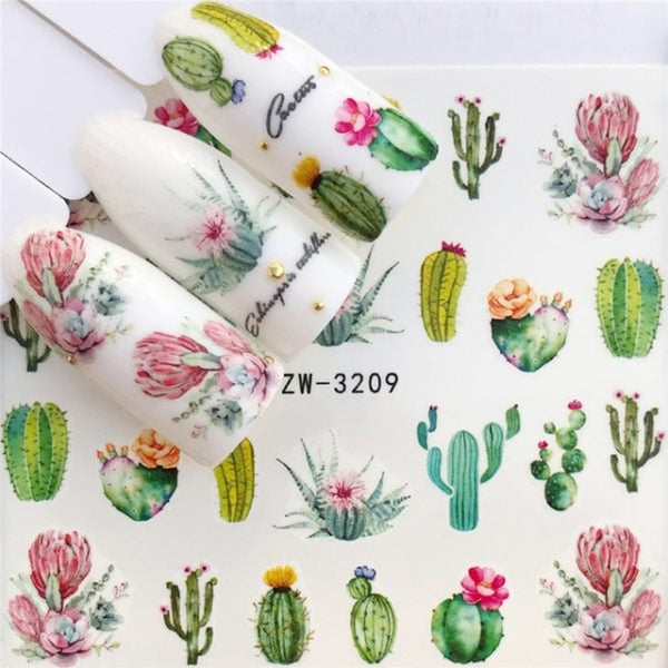 Over 20 Cactus Nail Stickers - Cacti Fingernail Decals - Floral - Water Nail decals