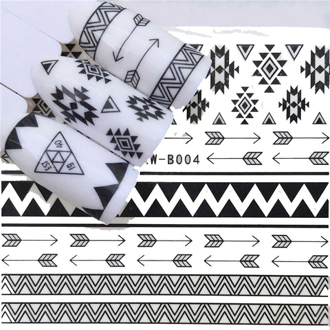 Trendy Tribal Minimalist Navajo Arrow Nail Wrap Decals Sticker Salon Quality Nail Art - 1 Sheet