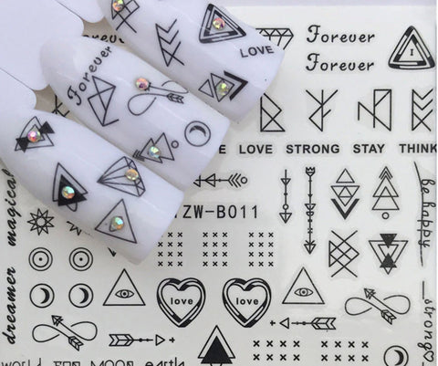 Full Sheet Black Minimalistic Indie Insperational Nail Sticker Arrow - Love - Salon Quality Nail Art Nail Wrap Nail Decals  - 1 Sheet