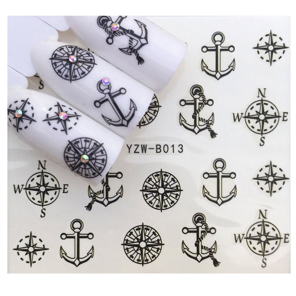 Nautical Navy Black Anchor Ship Compass Marine Wrap Decals Sticker Salon Quality Nail Art - 1 Sheet