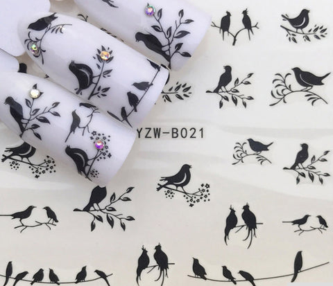 Full Sheet Black Birds Nail Stickers - Salon Quality Nail Art Nail Wrap Nail Decals  - 1 Sheet