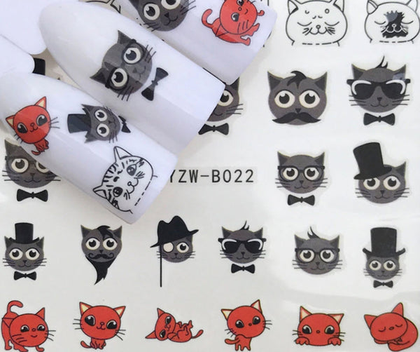 Full Sheet Black Red  Cats - Kitty - Kitten - Nail Stickers - Salon Quality Nail Art Nail Wrap Nail Decals  - 1 Sheet