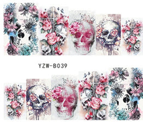Full Set of 10 Punk Gothic Rockabilly SKULL and ROSES Nail Wrap Decals Sticker Salon Quality Nail Art - Great for Halloween! 1 Sheet