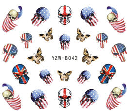 Full Set of Punk Gothic Rockabilly SKULL Butterfly American Flag Nail Wrap Decals Sticker Salon Quality Nail Art - Great for Halloween! 1 Sheet