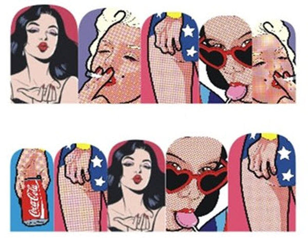 Wonder Woman Marilyn Monroe Nail Stickers - Salon Quality Nail Art Nail Wrap Nail Decals  - 1 Sheet