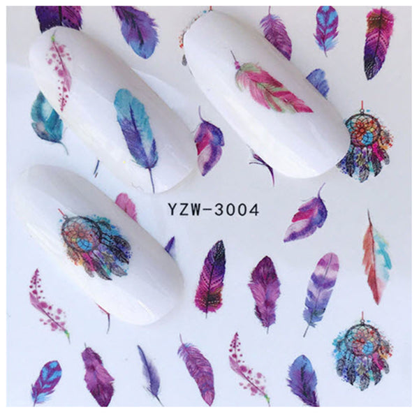 Full Set of Feathers and Dream Catchers Nail Sticker Salon Quality Nail Art - Nail Decals