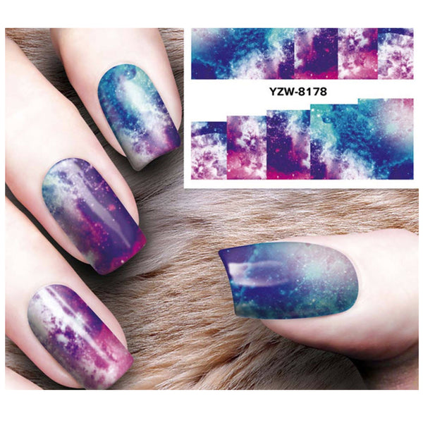 Full Sheet Nebula Cosmos Galaxy Dr Who Inspired Nail Stickers  - Salon Quality Nail Art Nail Wrap Nail Decals  - 1 Sheet