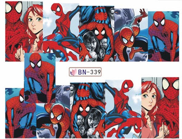 Spiderman and Marie Jane Nail Stickers - Water Decals Nail Art Nail Wrap Nail Decals