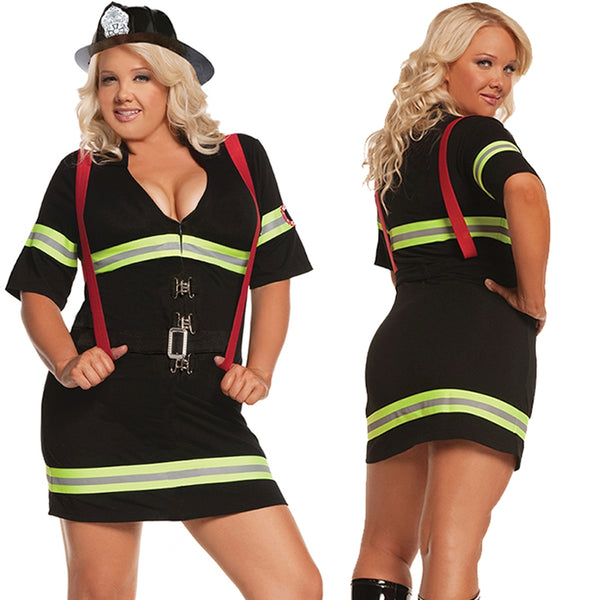 Sexy Plus Size FireFighter Hottie Halloween Costume