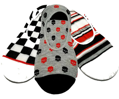 Novelty Cute Design ultra low no show socks - shoe liners - mini socquettes 3 pack Gothic Skull Skulls Stripes Checkers Red Black White Gray Grey
