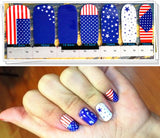 Full Set of 14 4th of July Nail Wrap Decals Sticker Salon Quality Nail Art - American Flag Sticker
