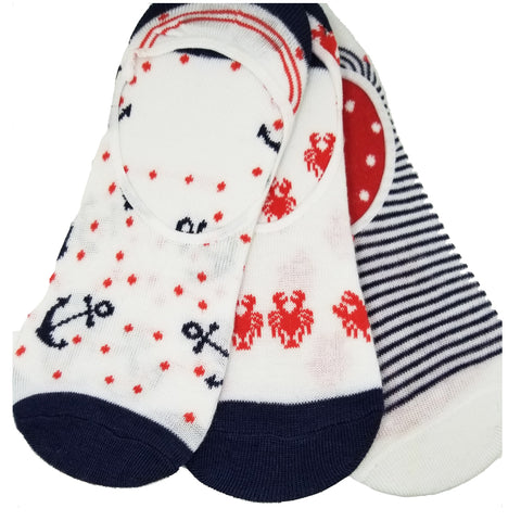 Nautical Marine Anchor Stripes Crabs Cute Novelty Design Ultra Low no Show Socks - Shoe Liners 4th of July - Red - White - Navy