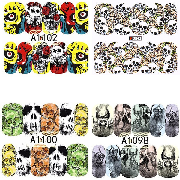4 Full Sheet Skull of Assorted Water Nail Decal Punk Gothic Rockabilly SKULL Nail Wrap Decals Sticker Salon Quality Nail Art - Great for Halloween!