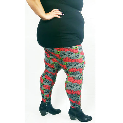 Woman's Buttery Soft Plus Size Skull Leggings Gothic Black Red Rose Punk Rock Rockabilly