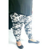 Woman's Buttery Soft Plus Size Skull Leggings Gothic Black White Punk Rock Rockabilly