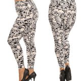 Plus Size Appeal:Woman's Buttery Soft Plus Size Skull Leggings Gothic Black White Punk Rock Rockabilly:Leggings:Plus Size Clothing