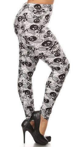 Woman's Buttery Soft Plus Size Skull Leggings Gothic Paisley Black White Punk Rock Rockabilly